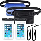 KAISHANE Waterproof Case IPhone Dry Bag Set Waterproof Phone Case Pouch Set 4 Packs Sealed Underwater With Detachable Lanyard and Waist Strap Lightweight For Swimming Boating Kayaking Hiking Diving