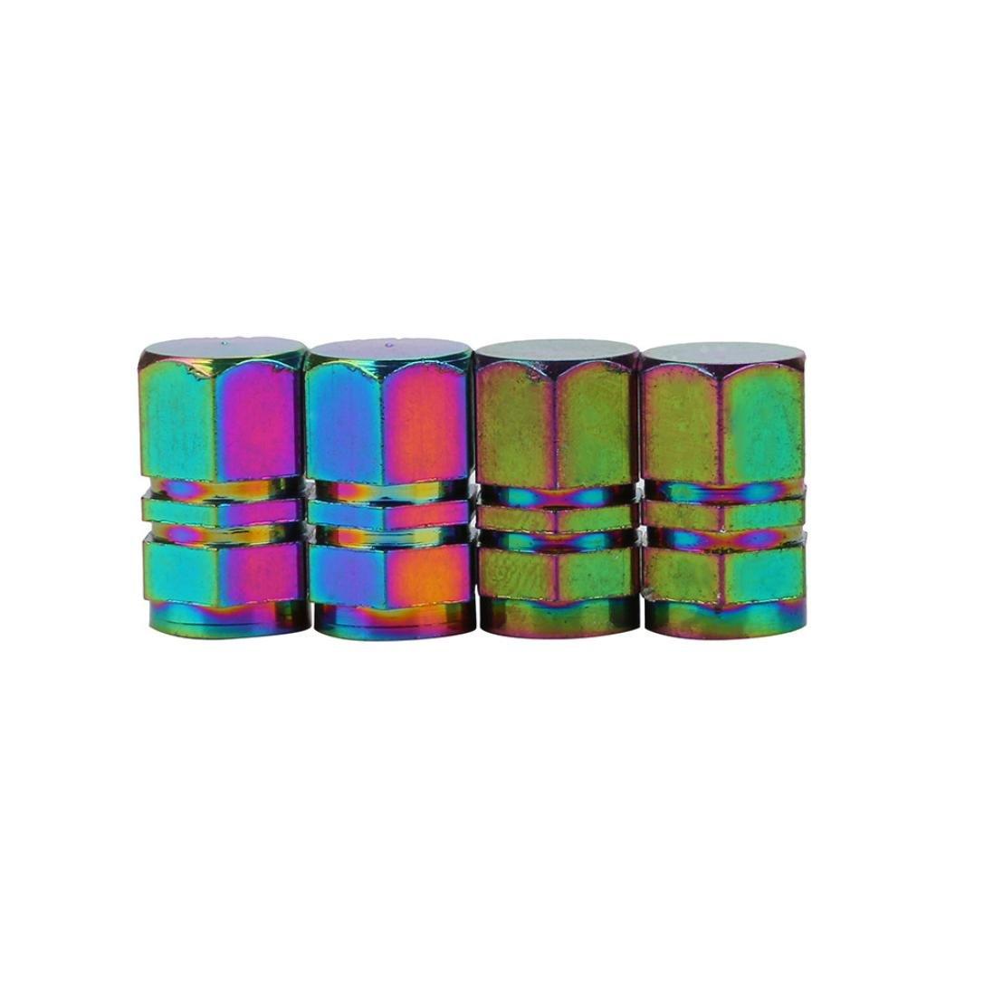 Elevin(TM)Set of 4,New Fashion Multicolor Bike Aluminum Bullet Style Truck Wheel Tire Valve Stem Caps Dust Covers American Style Presta Valve Cap (H)