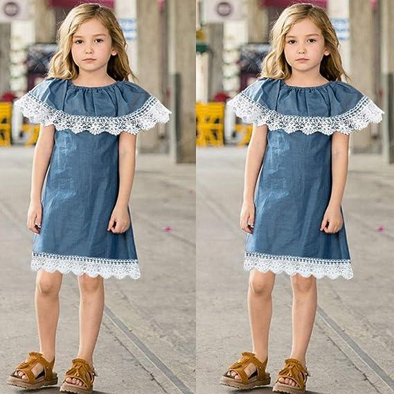 f0de1888769 Amazon.com  Kingspinner Girls Denim Dress Sleeveless Lace Ruffles Summer  Sundress Outfits Clothes  Clothing