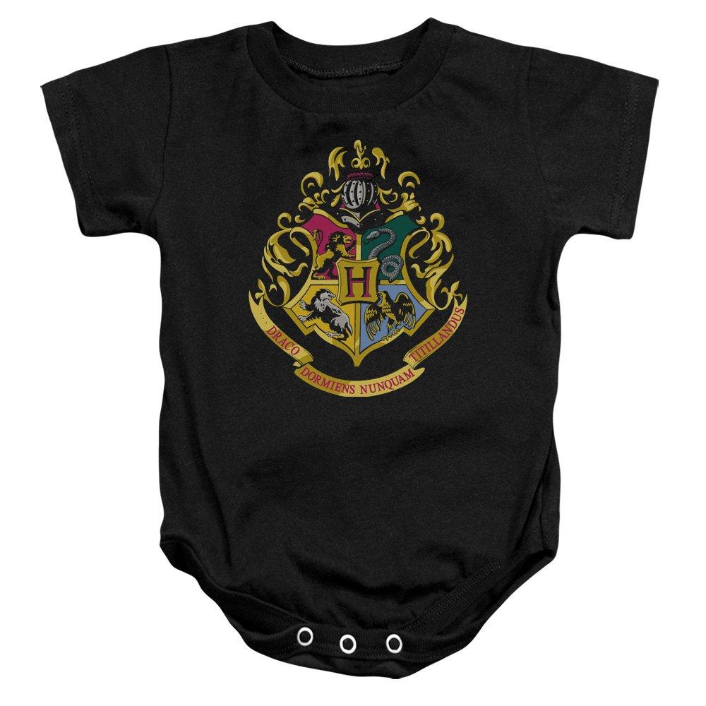 Harry Potter Hogwarts Crest Infant Snapsuit Black 6Mos Trevco