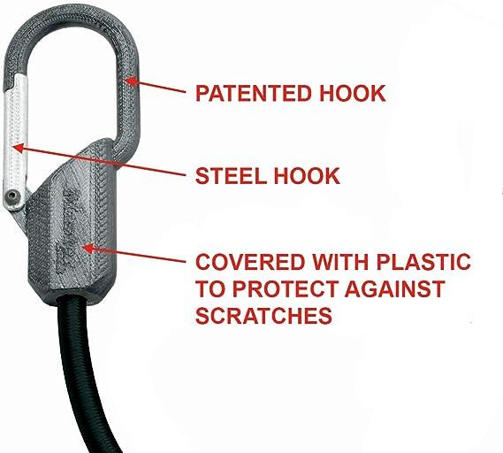 Master Lock 3205EURDAT Cuerdas elásticas con Ganchos Tipo Mosquetón Patentado, óptimo para Sujetar Cargas Pequeñas, Camping, Mudanzas, Negro, 8mm Dia ...