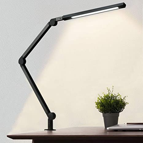 Amazon Com Desk Lamp With Clamp Eye Care Swing Arm Desk Lamp Stepless Dimming Adjustable Color Temperature Modern Architect Lamp With Memory Timing Function For Study Work Home Office 10w Home Improvement