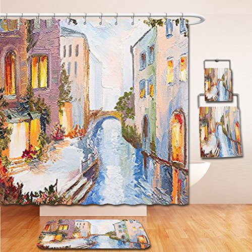 LiczHome Bath Suit: Showercurtain Bathrug Bathtowel Handtowel Lakehouse Decor Collection Historical Cityscape with Vintage Houses Along Water Canal in Venice Italy Oil Painting Tapestry Blue White - Orleans New Place Canal