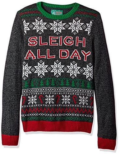 Ugly Christmas Sweater Men's Sleigh All Day, Black, XXL