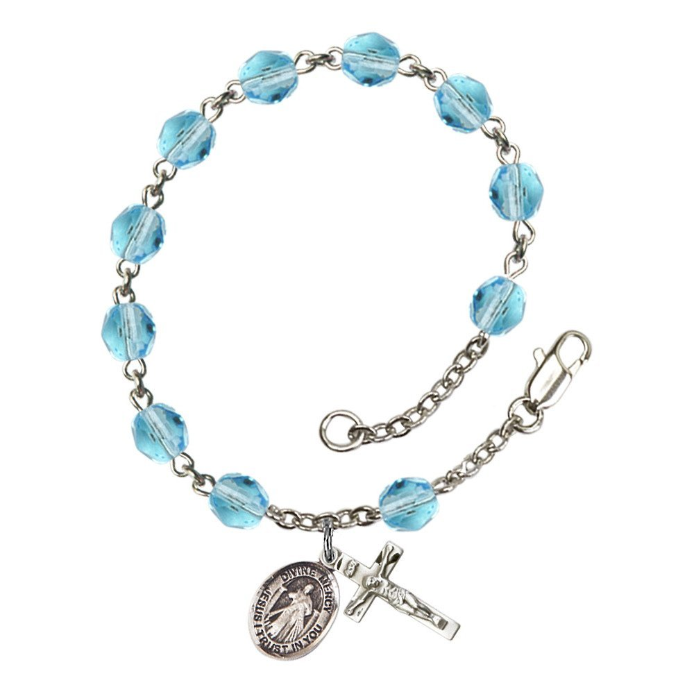 Bonyak Jewelry Divine Mercy Silver Plate Rosary Bracelet 6mm Fire Polished Beads Every Birth Month Color