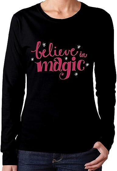 Camiseta de algodón de Manga Larga para Mujer Believe in Magic Comfortsoft: Amazon.es: Ropa y accesorios