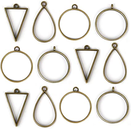 10Pcs Frame Pendant Open Back Bezel Geometric Hollow Frame Resin Jewelry Making