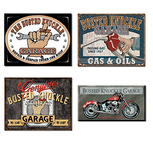 Busted Knuckle Garage Tin Sign Bundle - The Busted Knuckle Garage Repair & Despair, Busted Knuckle Gas & Oils, Genuine Busted Knuckle No Scar No Story and Busted Knuckle Bike - Harley Knuckle