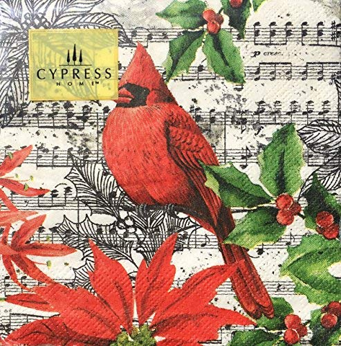 Cypress Home Cocktail Beverage Paper Napkins, Cardinal Bird, 40 ct