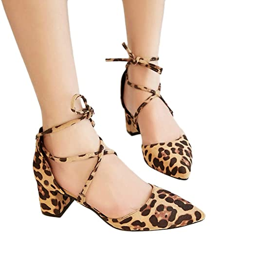1c88e9bcbfe Cewtolkar Women Shoes Leopard Print Sandals Pointed Shoes Strappy Sandals  Thick Heels Shoes Mid Heels Sandals