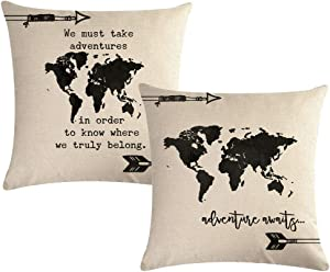 "7COLORROOM World Map Throw Pillow Covers with Adventure Awaits Arrow Decorative Cushion Covers Pillowcase 18""×18"",2Pack for Sofa,Couch,Bed (World Map)"