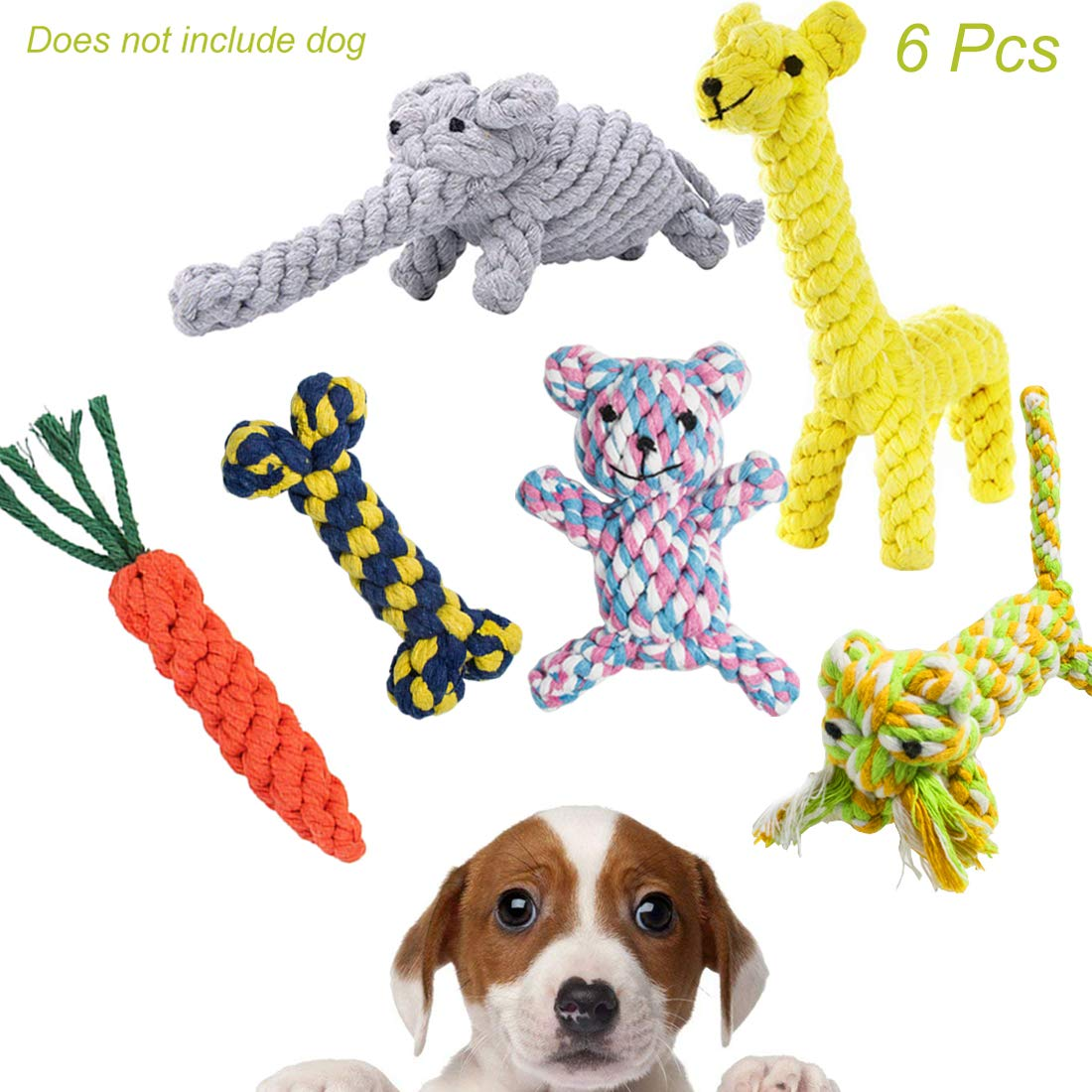 Hatisan 6 Packs Dog Rope Toys with Animal Design, Durable Cotton Chew toys Training toys Toys for Small to Medium Puppy Dogs