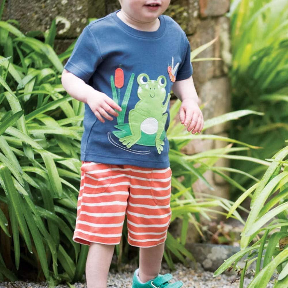 T Shirt per 2-7 Anni Fansu Pigiama Cotone Manica Corta per Bambino Due Pezzi Pigiami Set Estivo Bambina e Ragazze Pigiami Abbigliamento Pantaloni Corti