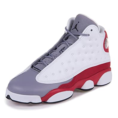 reputable site c2fd8 3e30e Jordan Nike Mens Air 13 Retro BG Grey Toe White/Black-Cement Grey-True Red  Leather Basketball Shoes Size 4.5Y