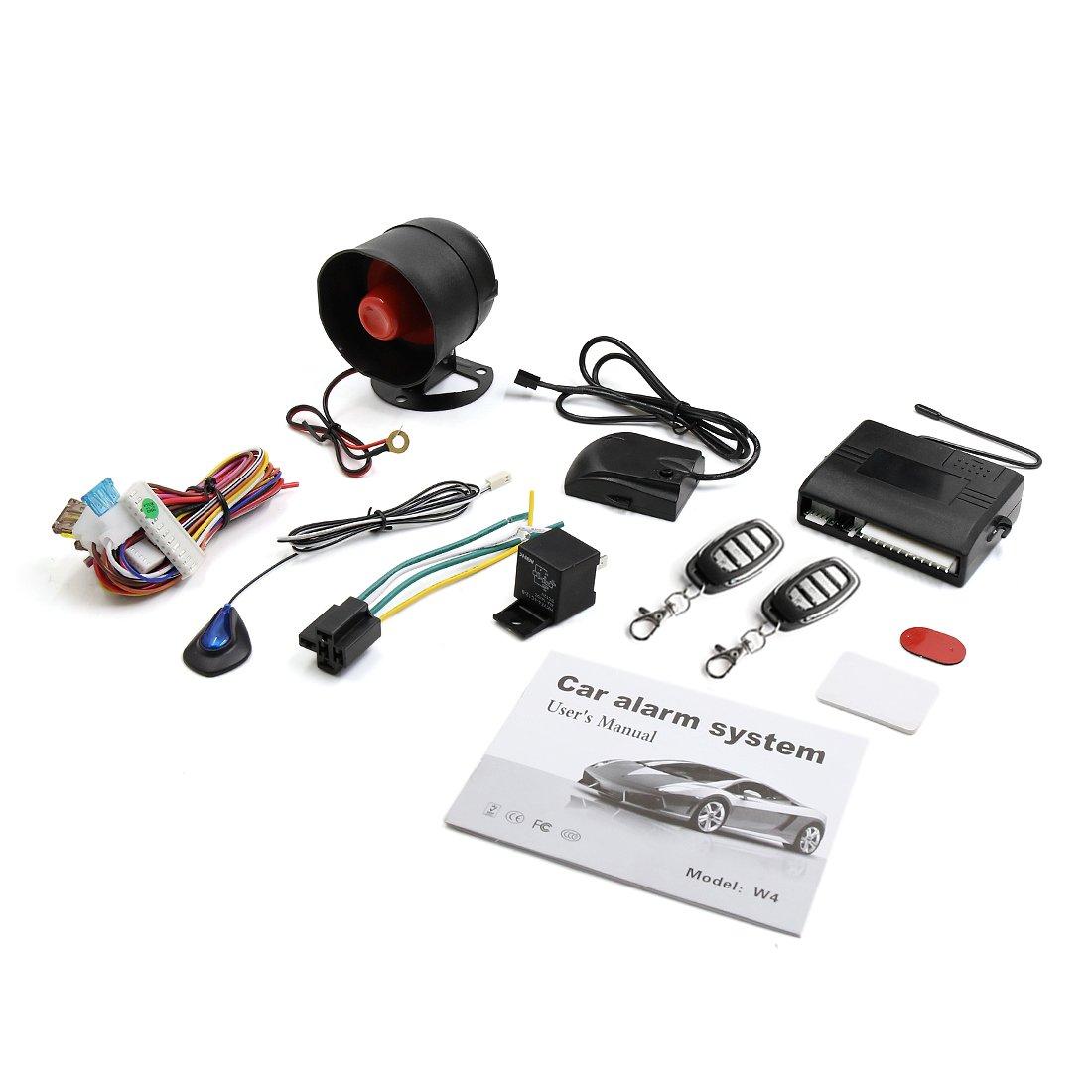 X Autohaux Car Keyless Entry Security Alarm System 1 Way Avital 3100 Wiring Diagram Vehicle Anti Theft Siren W 2 Remote 12v Automotive