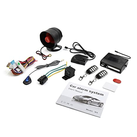 X AUTOHAUX Car Keyless Entry Security Alarm System 1 Way Vehicle Anti-theft Siren W 2 Remote 12V