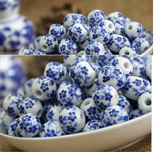 (Very Cute Useful Fashion Design Approx.100pcs DIY Blue and White Porcelain Beads Handmade Applique Ceramic Beads Crafted Dragon Bead)