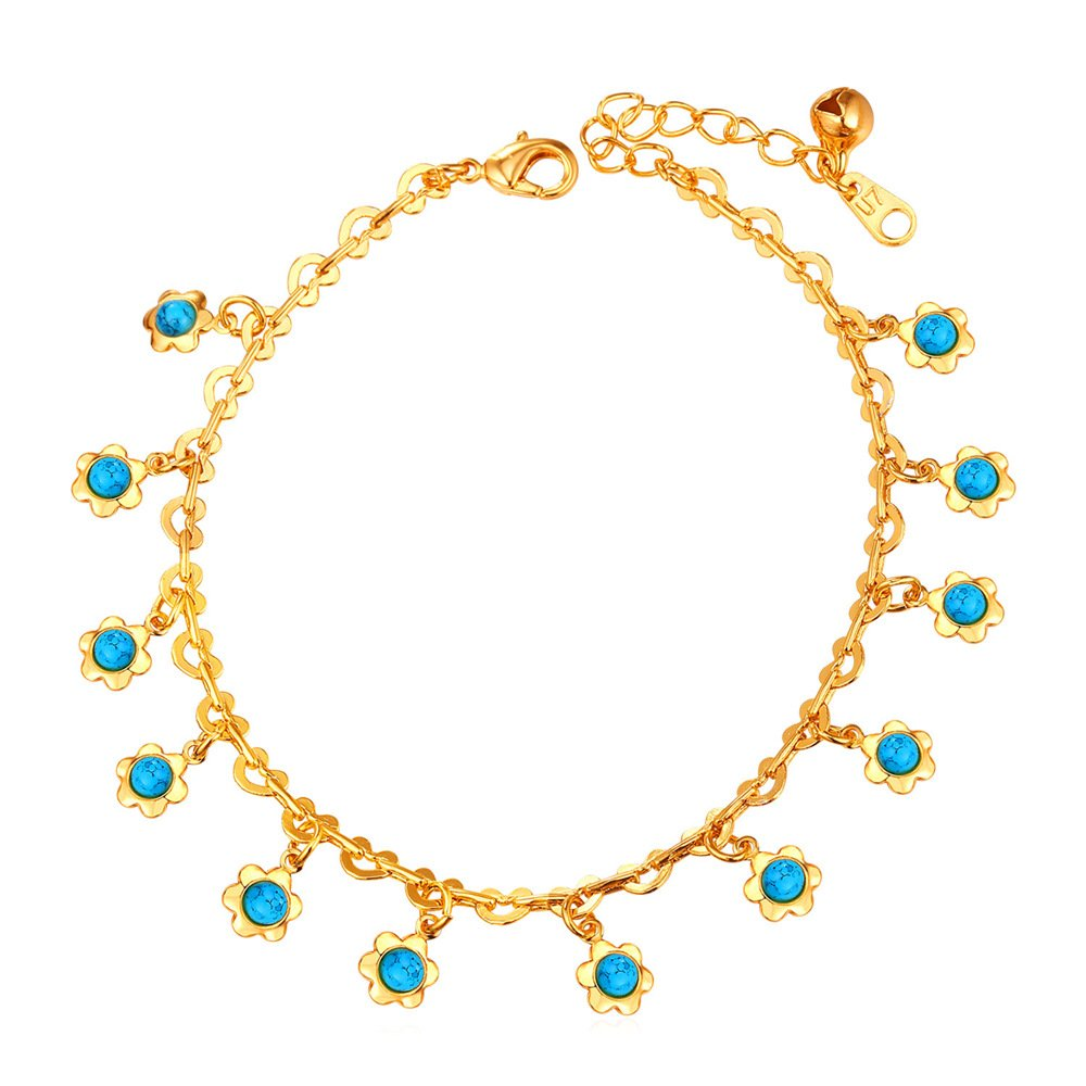 Women Anklet Enamel/Rhinestone Sunflower Charms Foot Ankle Chain Platinum/Gold Plated U7 Jewelry U7 A1125k