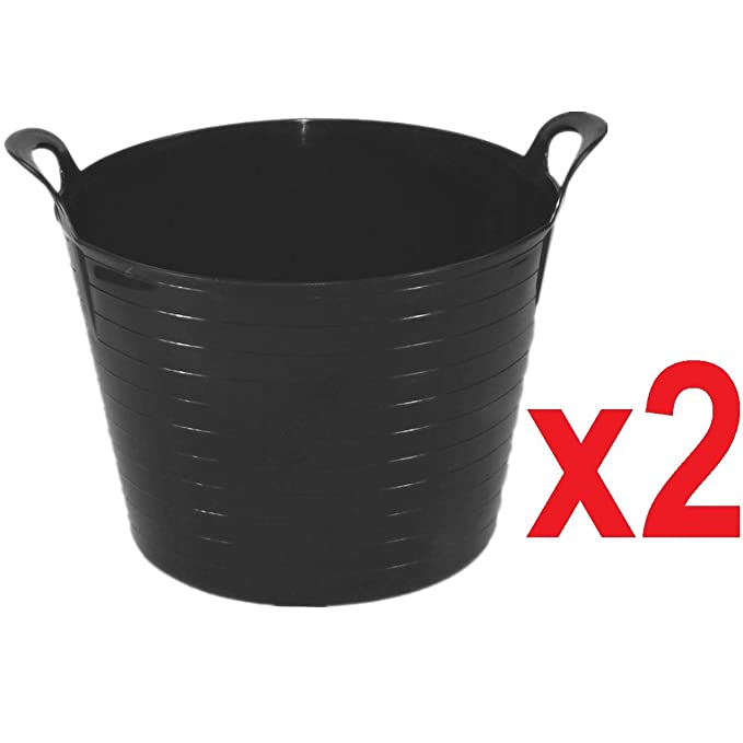 2 X 42 LITRE FLEXI TUB LARGE GARDEN CONTAINER FLEXIBLE STORAGE BUCKET YELLOW