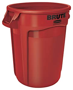 Rubbermaid Commercial Products FG263200RED BRUTE Heavy-Duty Round Trash/Garbage Can, 32-Gallon, Red