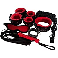 Premium PU Leather 7 Pcs Restraint Set Whip, Handcuffs, Blindfold, Gags, Collar, Leash, Choker (Red&black)