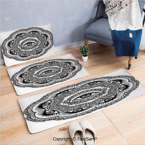FashSam 3 Piece Flannel Bath Carpet Non Slip Print in Floral Crown of Leaves Sticks with Eye of Providence Boho Symbol Front Door Mats Rugs for Home(W15.7xL23.6 by W19.6xL31.5 by W31.4xL47.2)