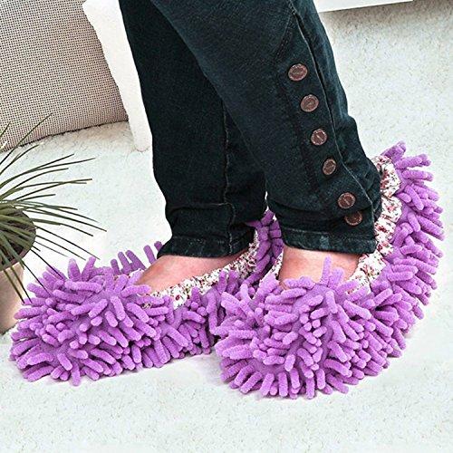 Gosear Fregona de Polvo Zapatillas Limpiar Zapatos / Limpiador de Piso Pulido de Cubierta para Baño Oficina Cocina,Verde Morado