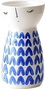 Senliart White Ceramic Vase, Small Flower Vases for Home Décor, 5.9 X 3.2 (Heart)