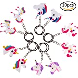 SNNplapla 10 Pack Assorted Unicorn Keychain Keyring Key Ring Unicorn Party Favor Supplies, 5 Styles