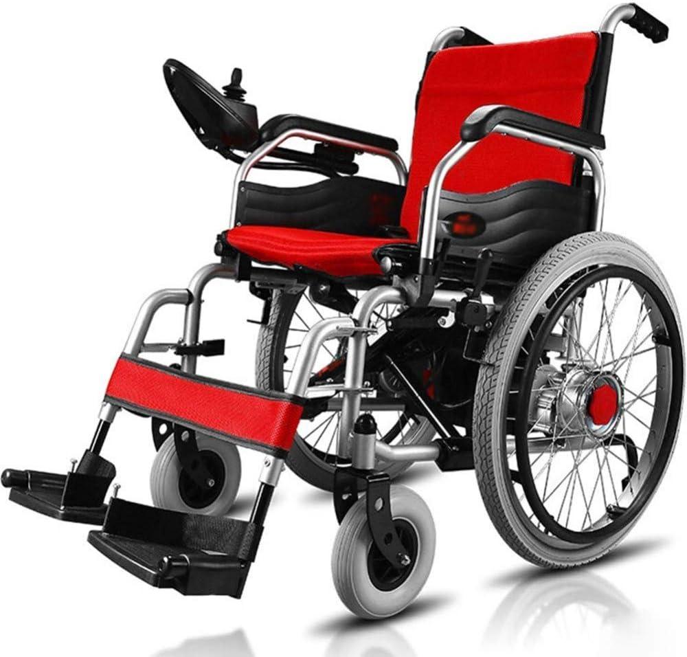 AOLI De peso ligero plegable Silla de ruedas eléctrica, Deluxe Doble plegable de alimentación compacto ayuda motriz sillas de ruedas, 12Ah / batería de litio de 20Ah, más larga Driving Range adultos