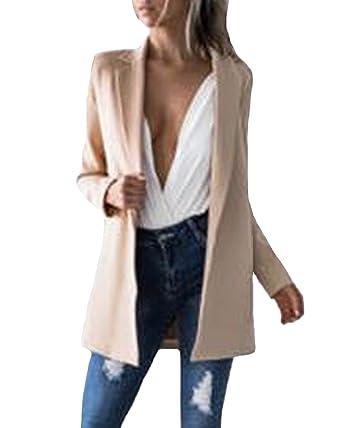 247ba535ef Auxo Femmes Automne Costume élégant Cardigan Slim Bureau Style Veste Manches  Longues Blazer Coats Kaki EU