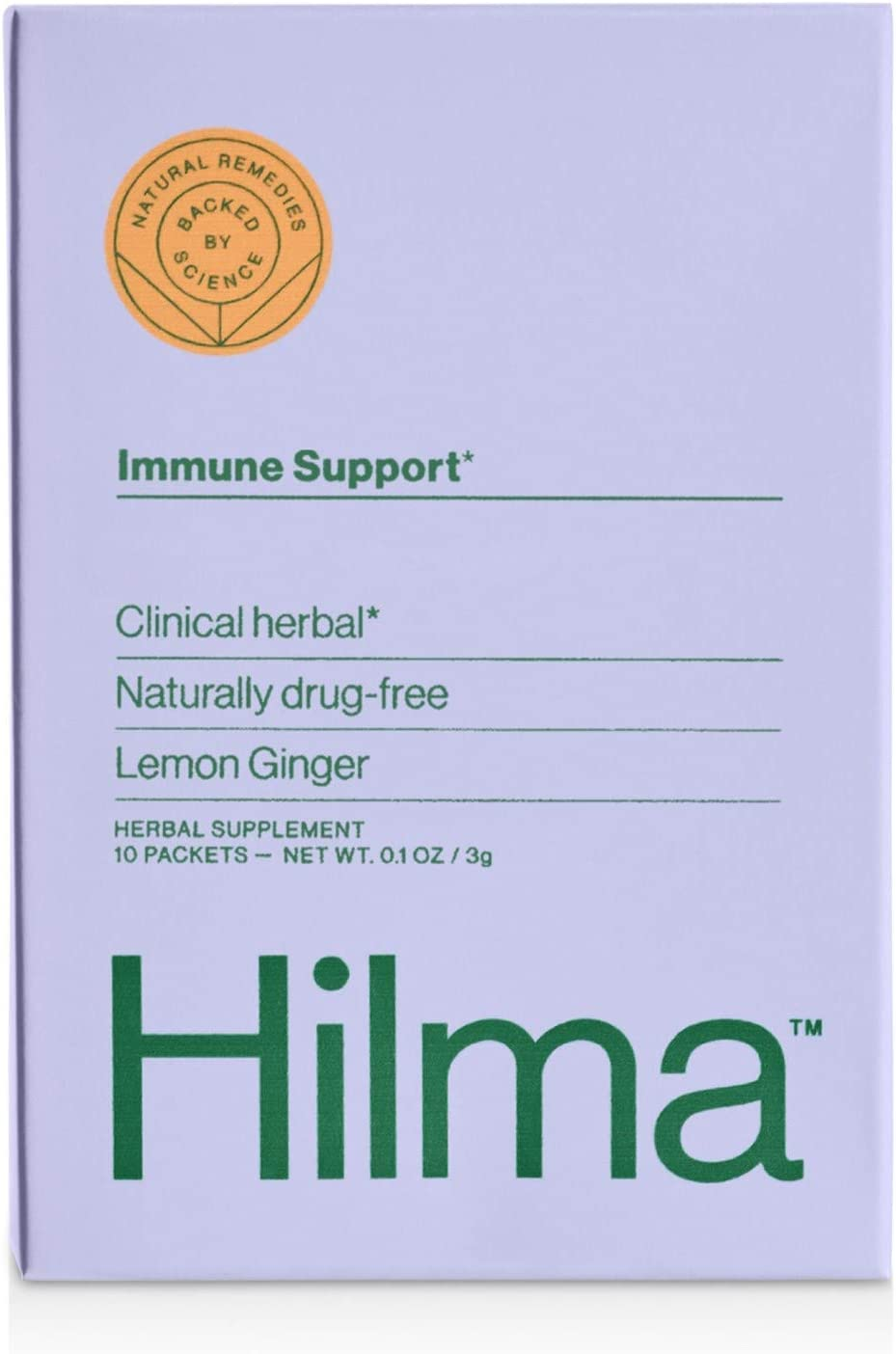 Natural Immune System Support Powder by Hilma | Clinically Proven Vitamin C, Zinc, Ginger & Turmeric | Doctor Formulated + Organic Ingredients | Refreshing Lemon Ginger Flavor | 10 Packets