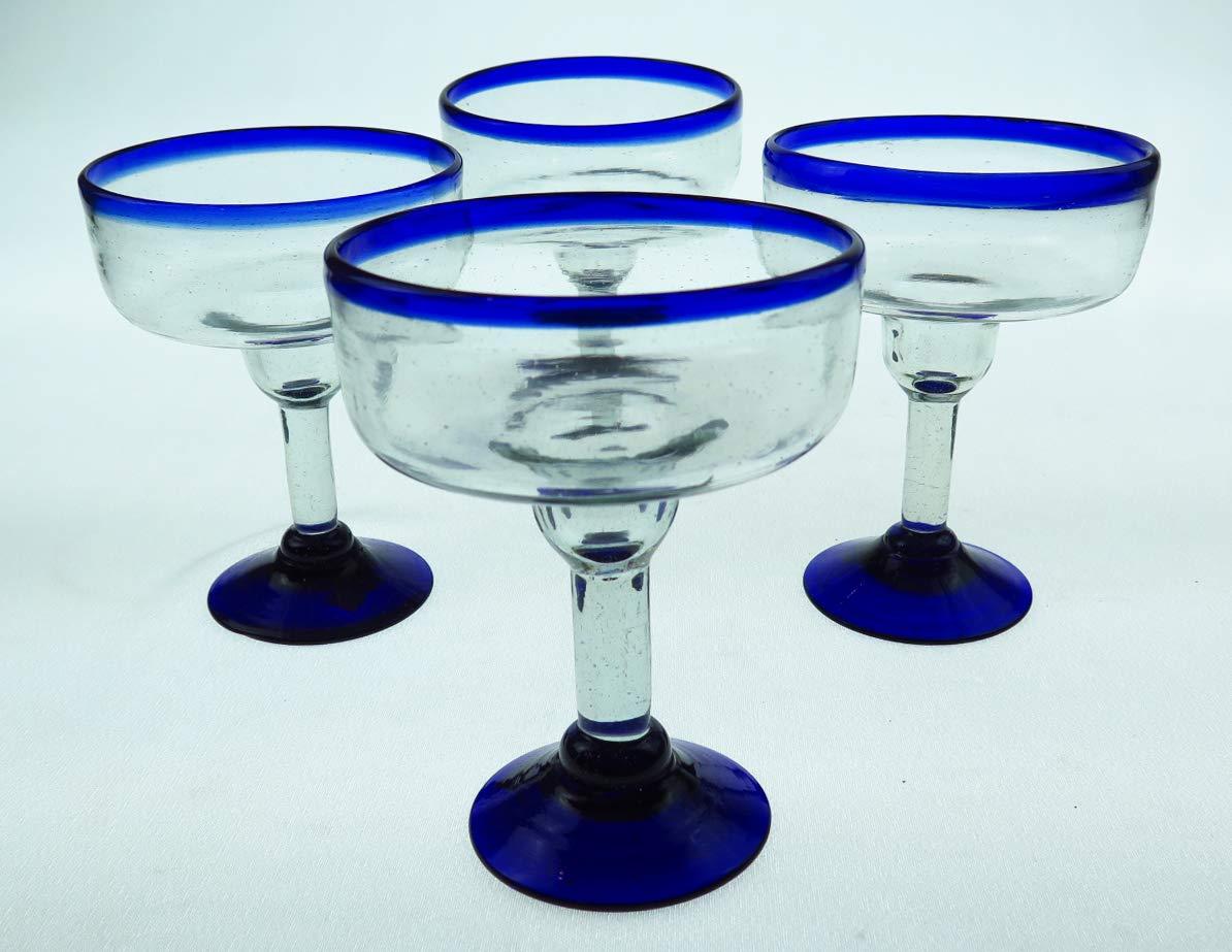 Mexican Glass Margarita 18 Oz. Blue Rim, Hand Blown, set of 4