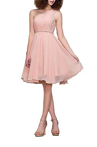 Cocktail Dress One Shoulder Formal Dresses for Women A-line Modest Bridesmaid Dress, Color Baby Pink...
