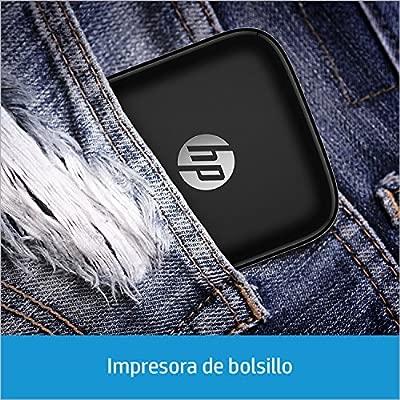 HP Sprocket - Impresora fotográfica portátil (impresión sin tinta, Bluetooth, 5 x 7.6 cm impresiones) color negro