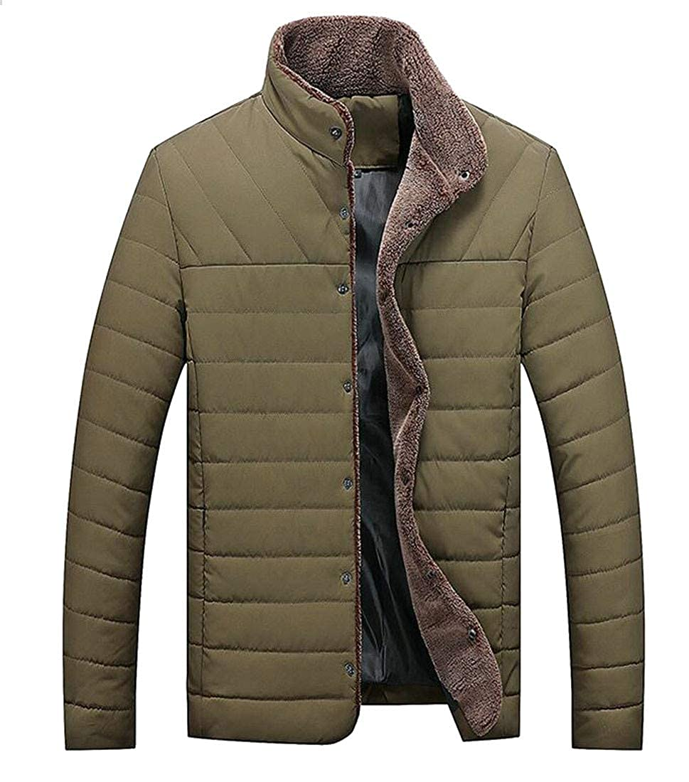 Sweatwater Mens Button Cotton Padded Winter Stand Collar Puffer Parkas Jacket