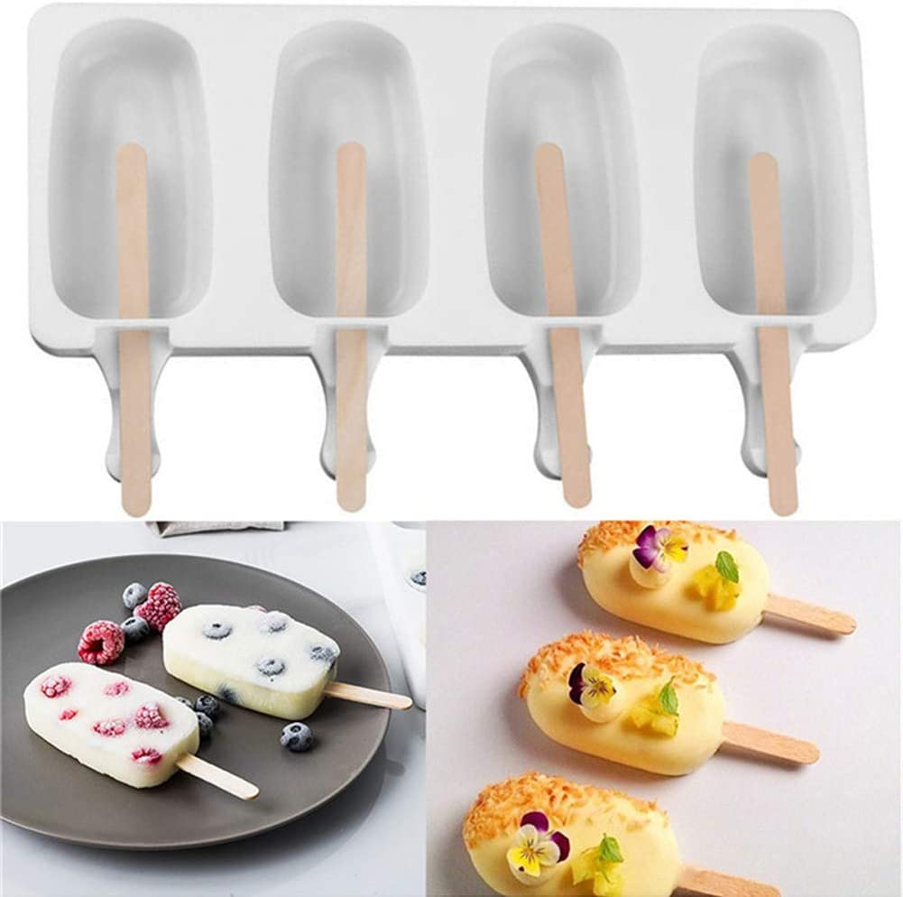 White Ice Lolly Moulds Silicone Popsicle Molds L 4 Cavities Mini Ice-Cream Silicone Bar Mould Set