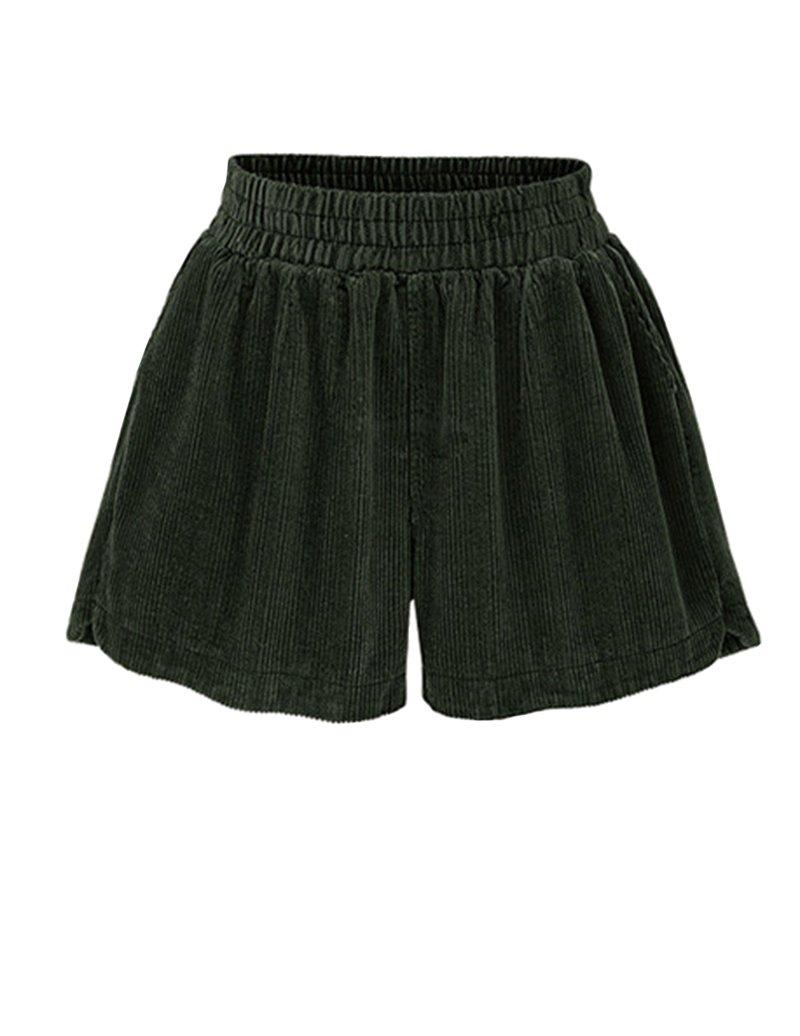Ainovile Women's High Waist Velvet Wide Leg Corduroy Boots Shorts Large Green