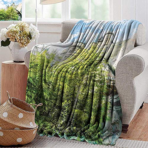 PearlRolan Summer Blanket,Wizard,Witchcraft School and Wizard Castle in Woods Replica in Japan Picture Print,Green Blue Beige,Lightweight Breathable Flannel Fabric,Machine Washable 30
