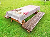 Ambesonne Spa Outdoor Tablecloth, Bohemian Zen Stones and Soft Petals Therapy Tradition Chakra Yoga Asian Picture, Decorative Washable Picnic Table Cloth, 58 X 104 inches, Pale Pink Peach