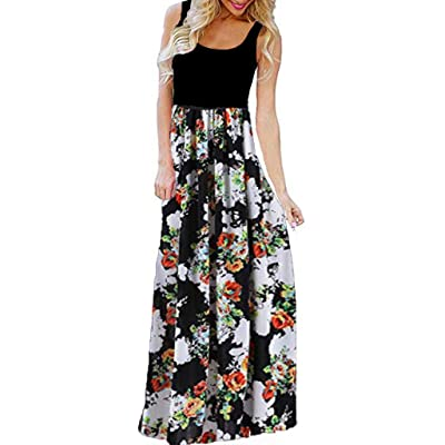 KYLEON Elegant Women's Maxi Dress Floral Printed Summer Sleeveless Casual Beach Party Tunic Long Maxi Tank Dress at Women's Clothing store