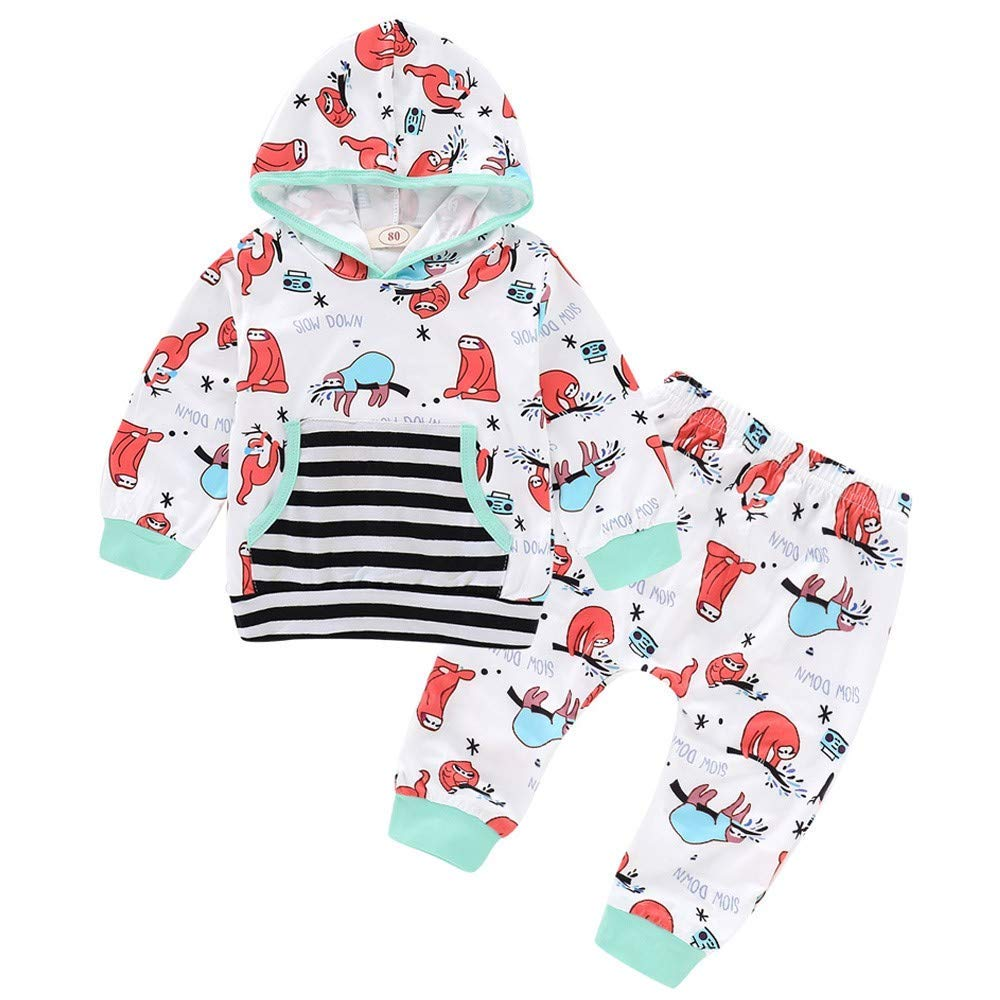 Toddler Sloth Hooded Pockets Tops Pullover Pants Trousers Outfits