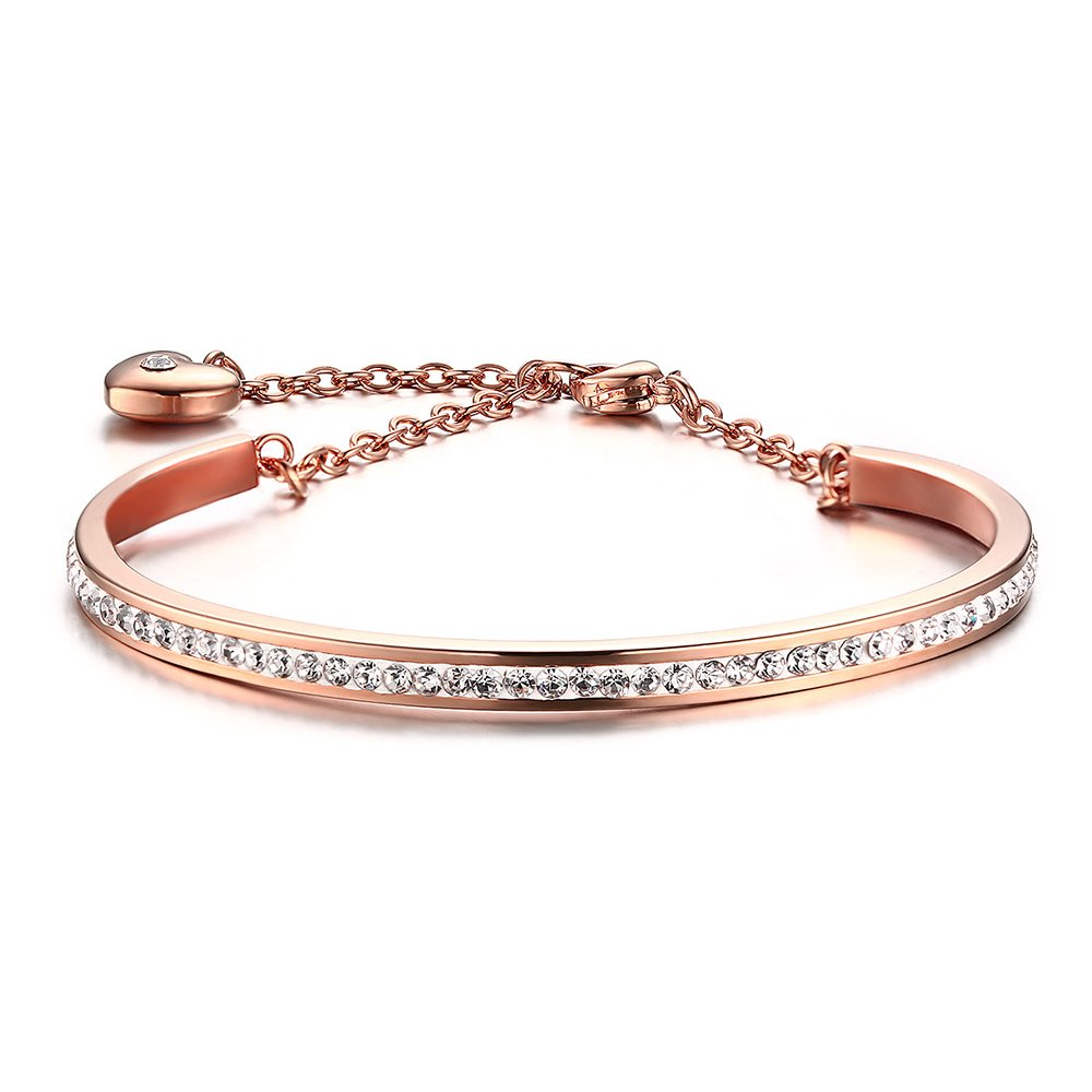 BEMI Elegent CZ Pave Friendship Bracelet C Bangle with Link Adujstable Heart Charm Bracelets for Women Rose Gold