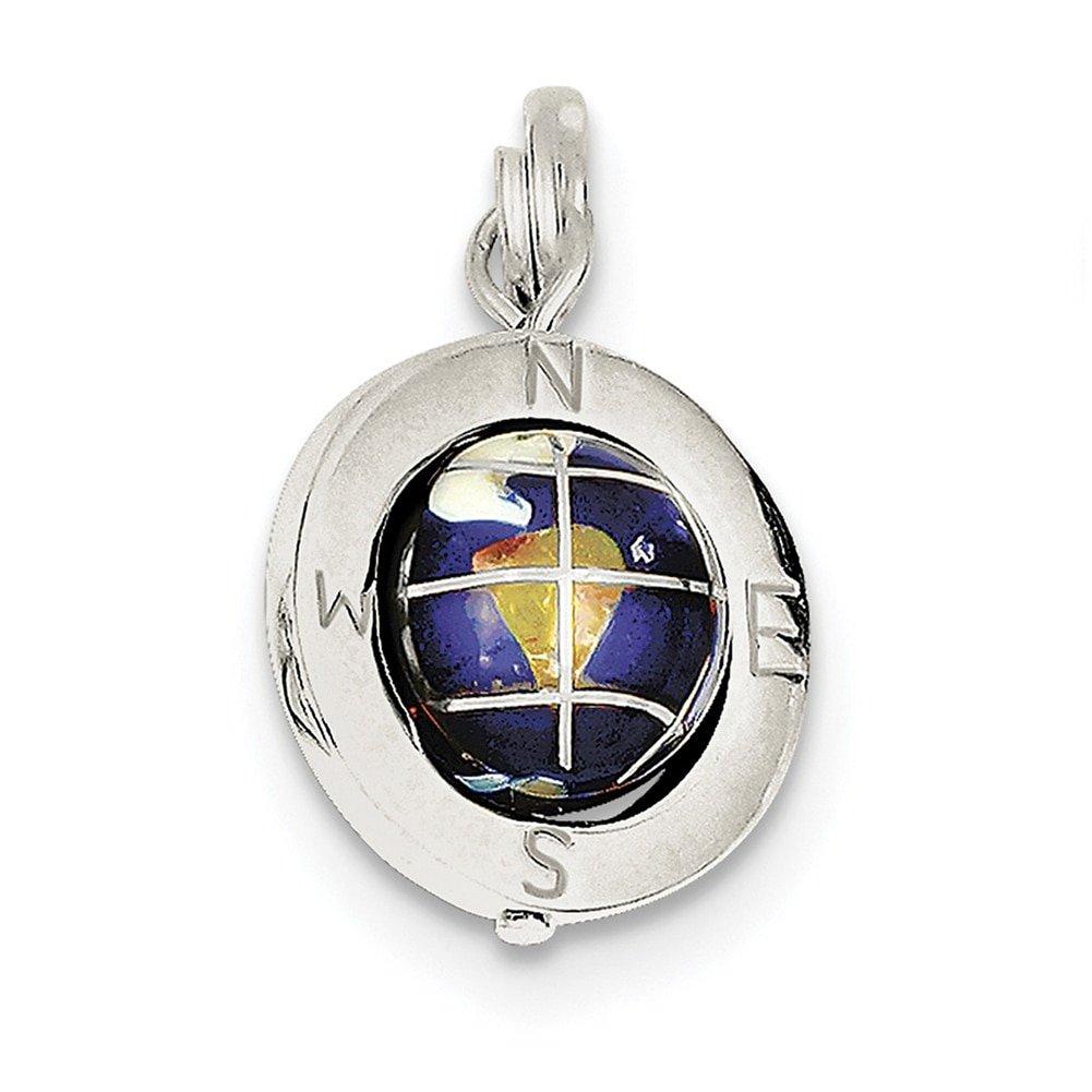 Lex /& Lu Sterling Silver Enameled Globe Charm