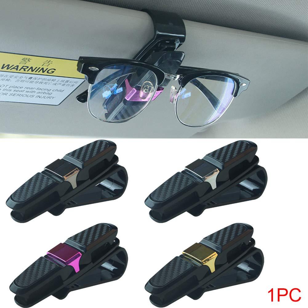 2 St/ück Brillenklammer mit Auto-Sonnenblende umweltfreundliche Kohlefaser Universal ABS Dekoration Karte Automotive Brille Klammer Gold