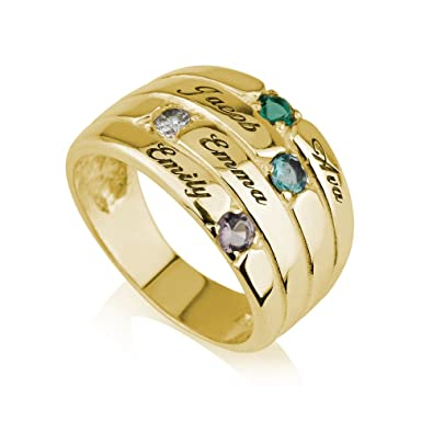 81ba0f320d918 Amazon.com: Mothers Ring Engraved Birthstone Ring 4 Stone Ring -925 ...