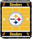 Officially Licensed NFL Pittsburgh Steelers Field Bear Woven Jacquard Baby Throw Blanket, 36