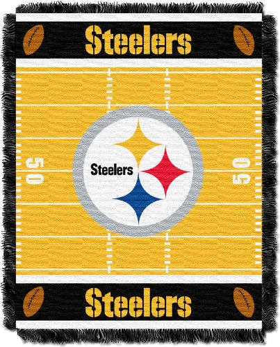 The Northwest Company Officially Licensed NFL Pittsburgh Steelers Field Bear Woven Jacquard Baby Throw Blanket, 36
