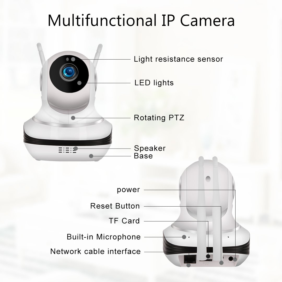 WiFi IP Camera Wireless Cloud Storage IP Camera with Pan/Tilt,Two-Way Audio,Night Vision.2.4GHz&720P HD for Baby/Elder Monitor. SD Card Available(64G in Max)