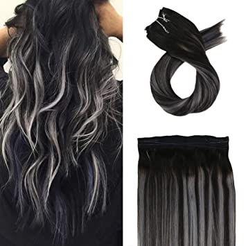 Moresoo 16 Inch Medium Length Hair Extensions Halo Real Hair Balayage Color  1B Off Black to Silver